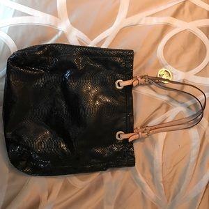 Michael Kors Black snake skin textured handbag